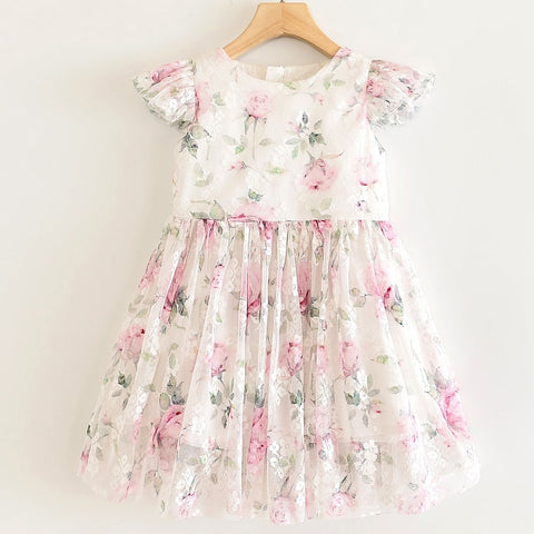 Little Girls Rose Easter Dress