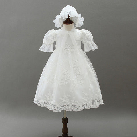 Baby Ivory Lace Baptism Dress - Debbie's Kids Boutique