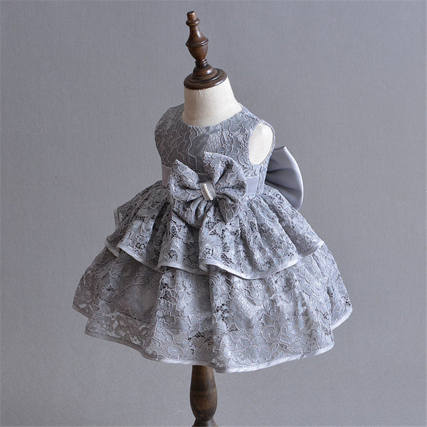 Pretty Grey Birthday Girl Dress