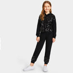 Girls Contrast Sequin Hoodie And Pants Casual Suit Set