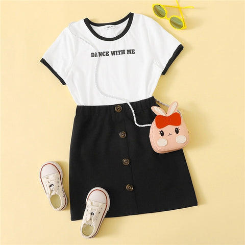 Girl's Printed T Shirt And Buttoned Skirt Casual skirt Set