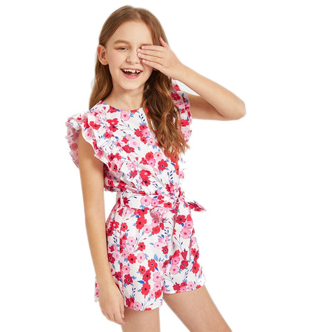 Layered Ruffle Floral Print Belted Girls Romper