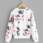 Girls White Floral Print Sweatshirt
