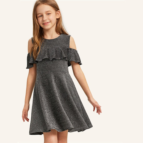 Silver Glitter Cold Shoulder Ruffle Trim Mini Girls Dress