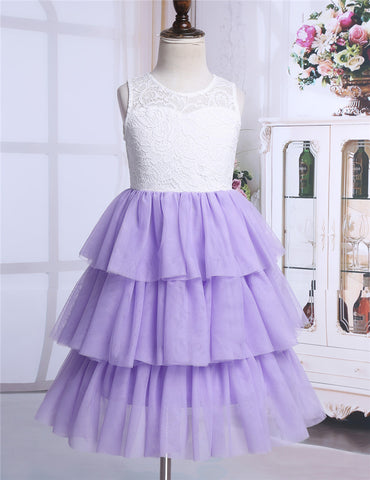 Flower Girl  High-waisted Ruffled Party Dress SZ 2-14