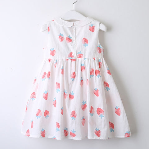 Little Girl's Strawberry Cherry Print Dress