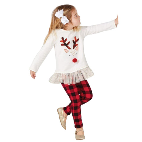 Girls Holiday Deer T shirt Tops+Plaid Pants set