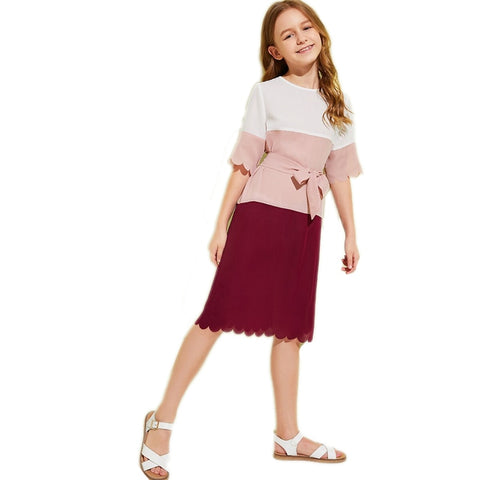 Girls Cut And Sew Scallop Trim Tunic Dress With Belt