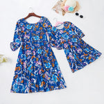 Blue Floral Printed Mommy and Me matching dress - Debbie's Kids Boutique