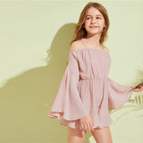 Kiddie Pink Solid Cold Shoulder Girls Boho Beach Jumpsuit