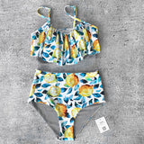 Summer Lemon Print Ruffle High-waisted Two Pieces Swimsuit just for mommy