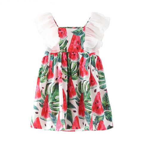 Little Girls Watermelon Print Beach Dress