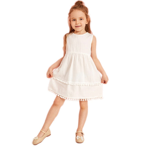 Toddler Girls White Solid Zipper Back Pompom Hem Dress