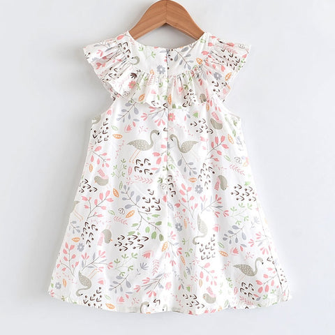 Little Girl's Lovely Printed Tea Party Dress