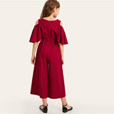 Red Solid Cold Shoulder Button Side Casual Girls Jumpsuit