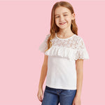 Girls White Lace Yoke Eyelet Embroidered Ruffle Trim Cute Blouse