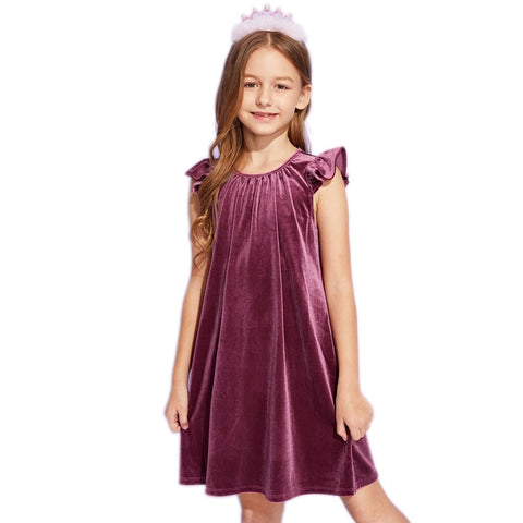 Purple Solid Ruffle Armhole Velvet Girls Cute Dress