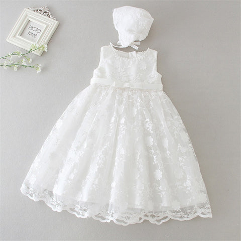 Stunning Beige Lace Christening Dress for baby girl