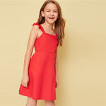 Stunning Red Solid Buttoned Front Ruffle Strap Dress