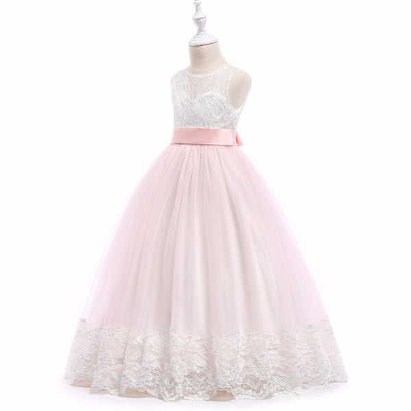 Girls Maxi Long Flower Girl Dress