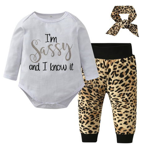 Sassy  Tops + Leopard Pants + Headband Set