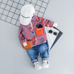Little Monster Peekaboo Plaid Shirt and Pants set