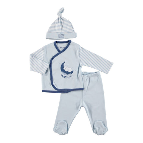 Infant Sleeping Bear Side snap Top, pants and hat set