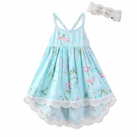 Girls Printed Party Backless Dress+Lace Hair Band