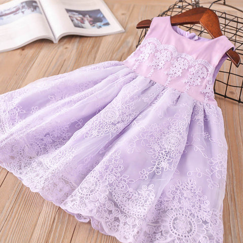 Girls Embroidery Flower Girl Dress