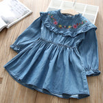 Girls Ruffle Denim Dress