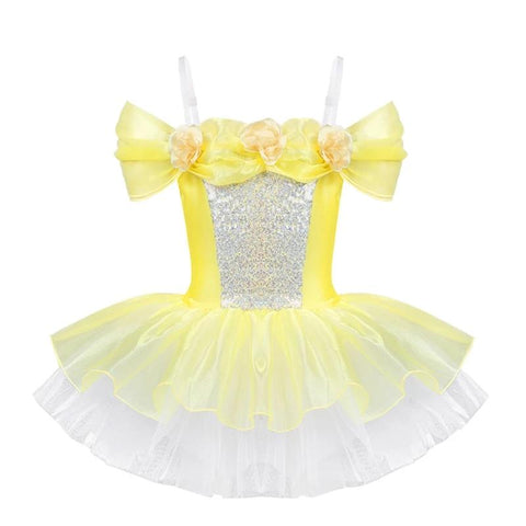 Kids Girls Ballet Sequin Lace Leotard High Low Hem Dress