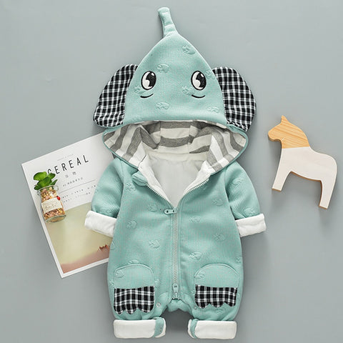 Baby Boy Elephant Fall Rompers