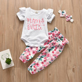Mama is my Bestie printed Romper, Pants and Headband Set