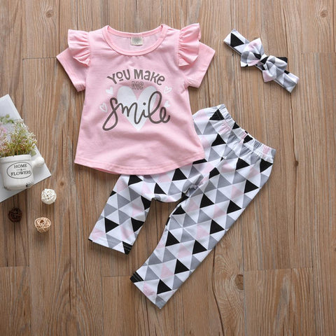 You Make Me Smile Ruffled printed T-shirt, Pants and Headband set