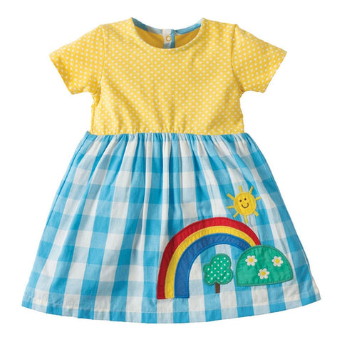 Plaid Rainbow Little Girls Dress