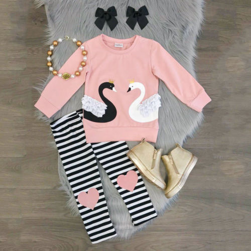 Girls Swan Tops and Legging Set