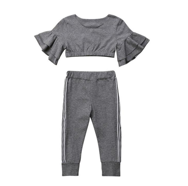 Girls Slim Fit Ruffles Sleeve Tops and Pants Set
