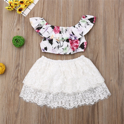 Little Girl Floral Crop Tops+Flowers Lace Tutu Mini Skirt