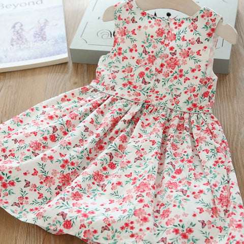 Little Girls Sweet Bow Floral Princess Dress