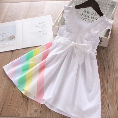 Simply Sweet Rainbow Bow Belt Dress