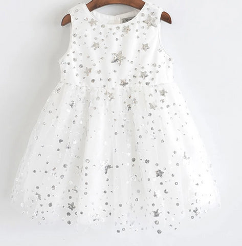 Girl's Sweet Star Sequins Holiday Dress