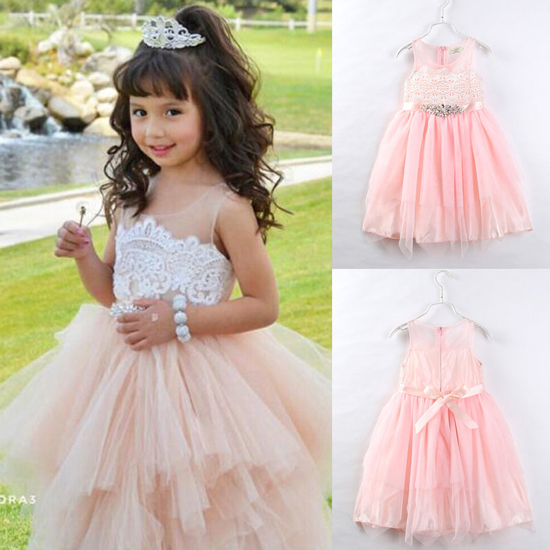 HOMEBABY Toddler Baby Girls Long Sleeve Princess Dress Kids Girls Flowers Holiday Bridesmaid Pageant Tutu Tulle Gown Party Wedding Dress Summer Spring Clothes Set for 1-6 Year
