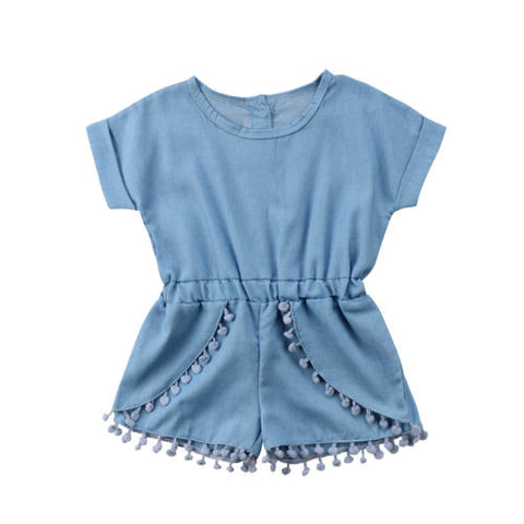 Denim Tassel Romper - Debbie's Kids Boutique