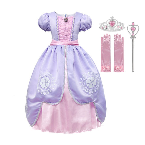Sofia Dress Up Short Sleeve Halloween Cosplay Fancy Party Gown