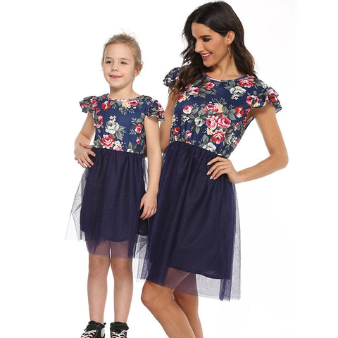 Mommy and Me Flower Print Summer Maxi Dress