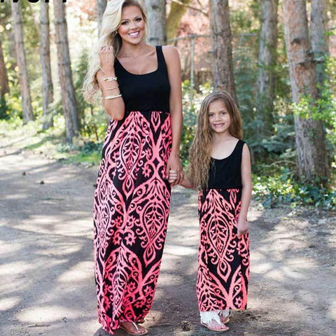 Mommy and Me Coral Maxi Dresses