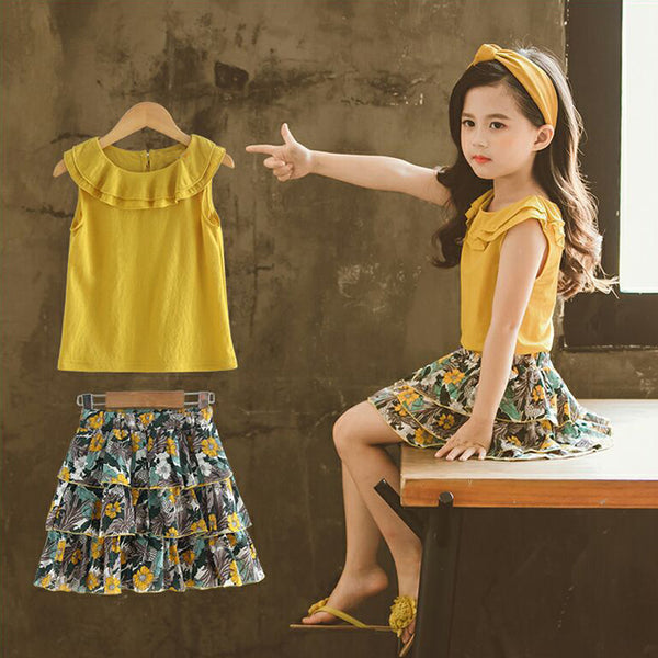 Girls Flower Print 2 pcs top and Skirt set