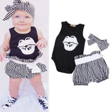 Mini adorable onesie headband and pants set