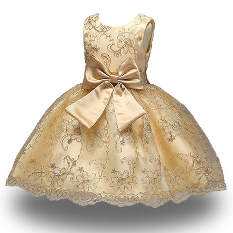 Gold Girl's Holiday Dress