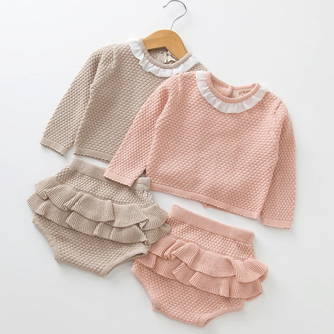 Baby Girl Knitted Pullover Shorts and sweater set
